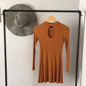 Burnt Orange Keyhole Neckline Dress